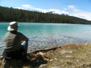 Dad looking out onto lake